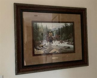"""$225~Jack Terry   """"Whitewater  crossing """"  framed print"""