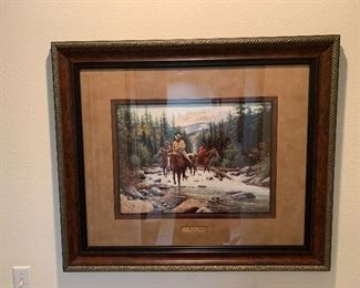 """$225` Jack Terry framed print """"Whitewater Crossing """""""