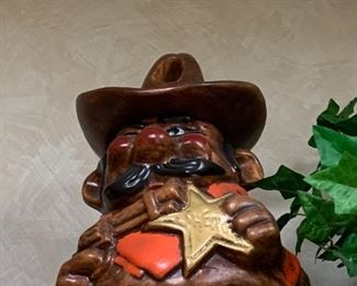 $55` Vintage Cowboy sheriff gun with bullet hole in hat ceramic cookie jar