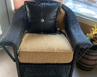 $650~( PART OF THREE PIECE SET) CUSTOM DESIGNED THREE PIECE RATTAN SET CONSISTING OF LOVESEAT , ROCKER AND CHAIR WITH CUSHIONS/ PILLOWS SOLD SEPARATELY