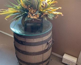 $55- Small Whisky Barrel 11 1/2 wide x 15 1/2 ht