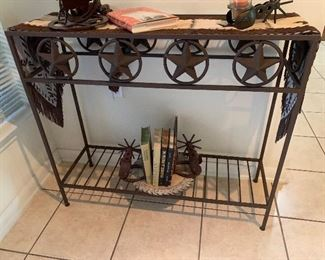 $215~  STAR OF TEXAS  IRON SOFA/ LIBRARY/ ENTRY TABLE ,  $115 ~ COW HIDE TABLE RUNNER