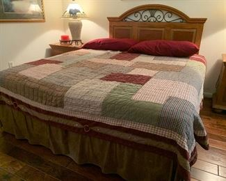 $95~ KING PATCHWORK QUILT , $75~QUEEN HEADBOARD ~ $250~ KING MATTRESS AND BOXSPRINGS