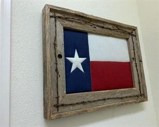 $165~ RUSTIC FRAMED TEXS FLAG