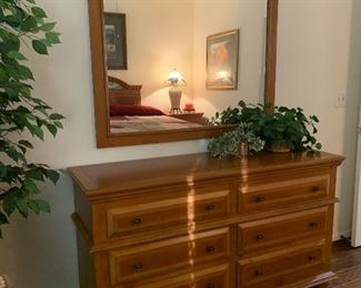 $480 OBO~ RUSTIC SIX DRAWER CEDAR DRESSER WITH IRON AND METAL MIRROR