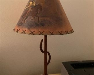 $115~ HAND PAINTED ARTIST SIGNED SHADE WITH IRON BASE