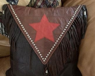 $68~ CUSTOM DESIGNED STETSON LEATHER PILLOW  WITH STUD EMBELLISHMENTS