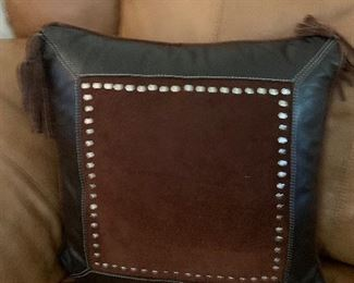 $60 ~ STETSON CUSTOM DEIGND LEATHER PILLOW WITH METAL STUDS AND FRINGE