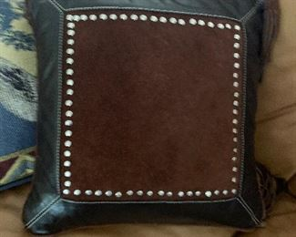 $55 ~ STETSON CUSTOM DEIGND LEATHER PILLOW WITH METAL STUDS