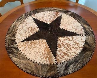 "$80~ Texas cowhide patch work round  34"" DIAMETER"
