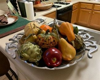 $55~PEWTER BOWL WITH ARTIFICIAL FRUIT