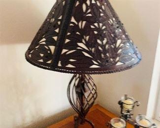 $300-  Amazing custom designed hand tooled leather Shade  and wrought iron lamp