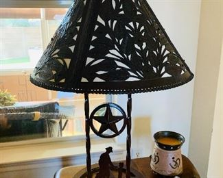 $325-  Amazing custom designed hand tooled leather Shade  and wrought iron lamp