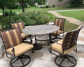 $625~ WOW!  SET OF FOUR SWIVAL ROCKING CHIRS WITH TILE TOP IRON  TABLE