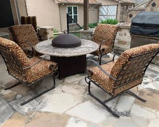 $415~ SET OF FOUR ROCKING METAL CHAIRS WITH CUSTOM UPHOLSTERED PADS~~~~~~~~~~   $210~ OUTDOOR FIRE PIT