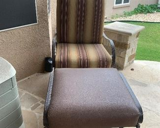 $245~  METAL CHAIR WITH CUSTOM UPHOLSTERY  AND OTTOMAN