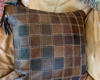 $55~ Stetson custom designed patchwork leather pillow