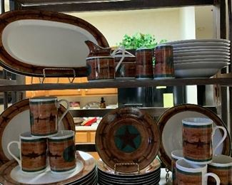 $125~ M&F WESTERN MOMENTS WESTERN MOTIF EVERYDAY TABLE WARE . DISHWASHER AND MICROWAVE SAFE.
