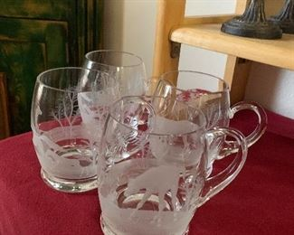$48~ SET OF EIGHT ETCHED MUGS