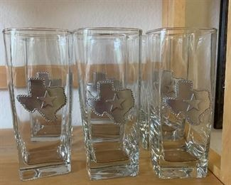 46~ SET OF EIGHT TEXAS MOTIF WATER GLASSES