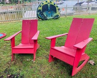 Outdoor Adirondack Chairs, (4)