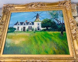 Oil on Canvas Painting by Alicia Reymann, Original Art with Gilt Frame