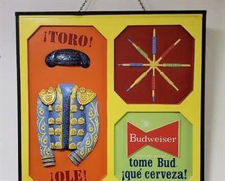 "Rare 1950s/60s Budweiser Beer lighted 28"" x 28"" bar sign"