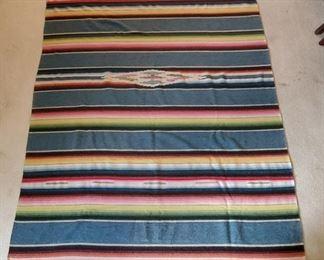 """Very Fine & Soft Vintage Mexican Serape 87"""" x 58"""""""