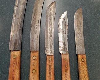 Set Vintage Old Hickory Shapleigh's Butcher Knives
