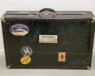 Antique Steamer Trunk With Steamship Stickers