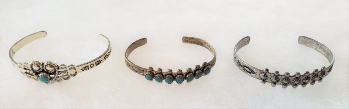 1) Child size Sterling silver rope heart & turquoise cuff bracelet 2) Child size Sterling silver cuff bracelet with 6 turquoise stones, Fred Harvey era 1920s-1940s 3) Child size Sterling silver cuff bracelet stamped Sanford, Fred Harvey era 1920s-40s