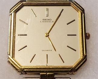 Vintage 14K Gold SEIKO Lassale Mens Quartz Watch