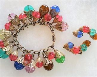 Vintage NAPIER Cha Cha Charm Bracelet & Ear Climber Earrings