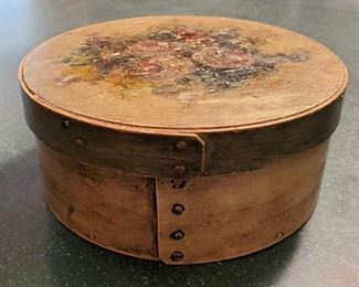 19th Century Painted Wood Copper Riveted Band Box