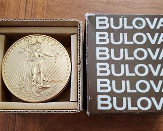 BULOVA Model B-0671 Coin Face Alarm Clock in Box