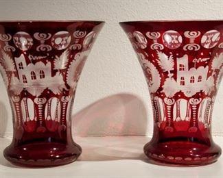 Bohemian vases with elk design