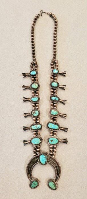 Navajo squash blossom necklace.