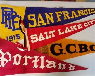 College & city vintage felt pennants