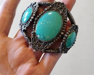 "Vintage Chrysocolla Stone Silver 7"" Cuff Bracelet"