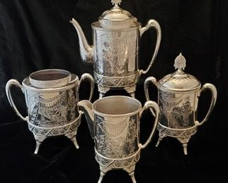 Antique Aesthetic Silver Plated Coffee Service