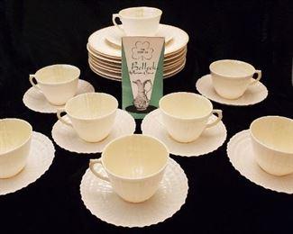 BELLEEK Limpet Plates Cups & Saucers Green Marks