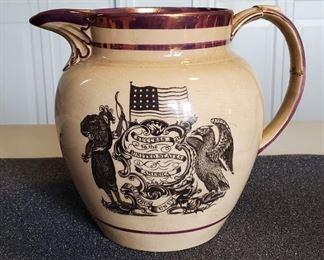 19th Century English Success to The US Staffordshire  Lustre Jug
