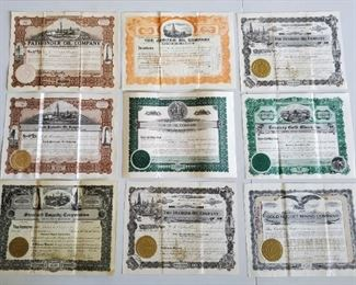 Many 1920s stock certificates, banks, oil companies, etc. Many are Wyoming companies.