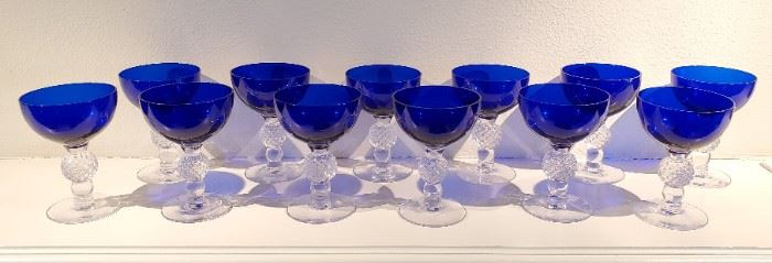 Vintage cobalt blue stemware