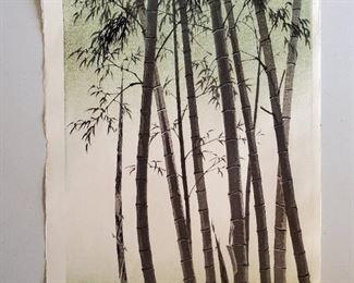 1950s Japanese Kotozuka Bamboo Woodblock Print. By Eiichi Kotozuka (1906-1979). Showa period in the Sumi-e style. Published in 1950 by Uchida Art Company LTD, Kyoto, Japan.