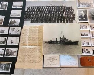 Uniforms and much ephemera from the USS Stockton. Mr. Robertson served aboard the ship in WW2. Includes candid kodak photos of the crew and ship.