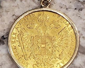 1915 Austrian GOLD 1 Ducat Coin in Pendant Frame