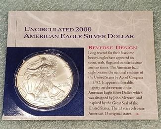Uncirculated 2000 American Eagle silver dollar