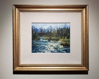 "2000 Oil Painting Grand Tetons by Jan Perkins. Original oil painting entitled ""Rushing Stream With Grand Tetons"" by listed Utah artist Jan Perkins (1944-2002). 8"" x 10"" in a 16"" x 18"" frame."