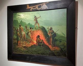 1904 Taber Prang FLAMING ARROW Indian Print Cooper